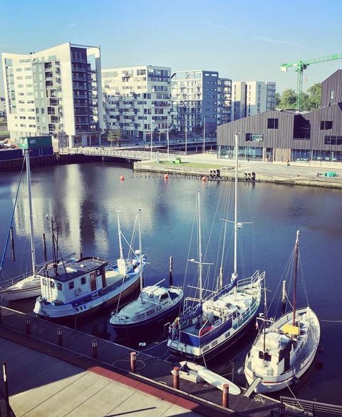 The view from the e-commerce house Hesehus' premises at the harbor in Odense